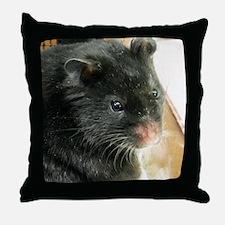 Black Hamster Throw Pillow