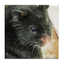Black Hamster Tile Coaster