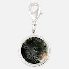 Black Hamster Silver Round Charm
