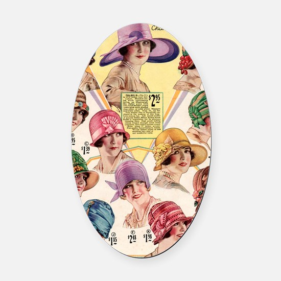 20s hats Oval Car Magnet