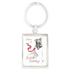Borzoi Christmas Card_edited-1 Portrait Keychain