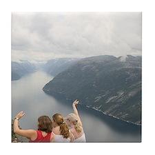 Norway stavanger couple on Preikensto Tile Coaster