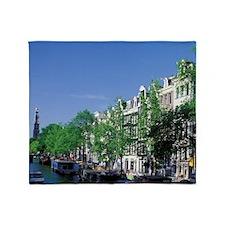 Amsterdam Tour boats along Prinsengr Throw Blanket