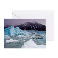 Deep blue icebergs floating near fac Greeting Card