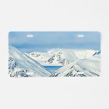 Snowcapped peaks Woodfjord  Aluminum License Plate