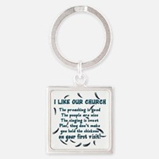 i-like-our-church Square Keychain