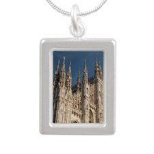 Italy, Milan Province, M Silver Portrait Necklace