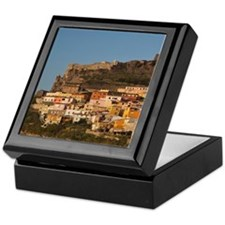 Italy, Sardinia, Castelsardo. Sunset. Keepsake Box