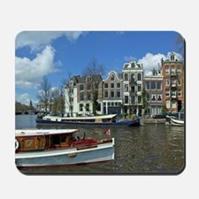 Canal boats at River Amstel and the Zwan Mousepad