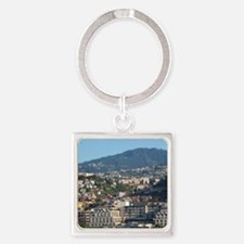 Funchal. Port area with 17th centu Square Keychain