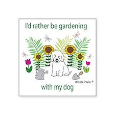 "GardeningDogCockapooWt Square Sticker 3"" x 3"""