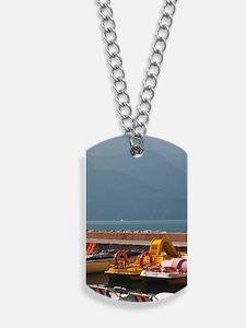 Riva del Garda. Lakefront paddleboatsa. L Dog Tags