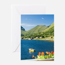 Lofoten. Barbeque on the deck on war Greeting Card