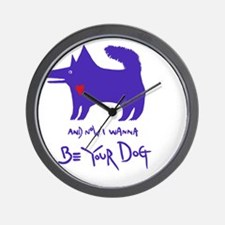 dog notebook design Blue copy Wall Clock