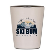 ski bum u wht Shot Glass