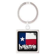 Houston Grunge Flag Square Keychain
