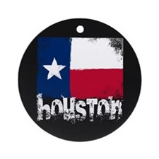 Houston Grunge Flag Ornament (Round)
