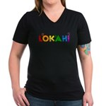 Rainbow Lokahi Women's V-Neck Dark T-Shirt