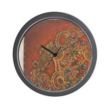 Traditional Norwegian tooled leather Wall Clock