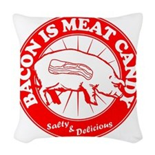 Meat Candy On White Black Burs Woven Throw Pillow