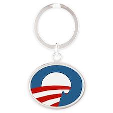 Obama_recycle Oval Keychain
