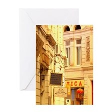 Glass covered arcaded streetCafes an Greeting Card