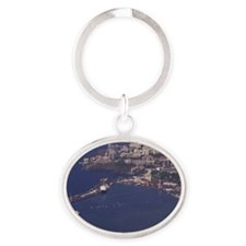 Madeira. Daytime view of Funchal and Oval Keychain