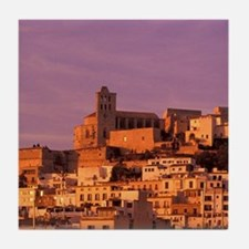 Eivissa. City view from harbor in lat Tile Coaster