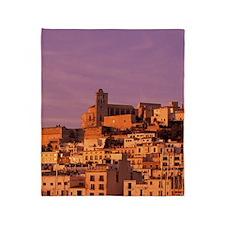 Eivissa. City view from harbor in la Throw Blanket
