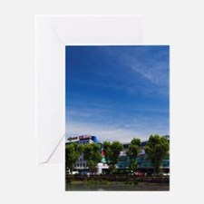 Shopping center by Sochi River, shop Greeting Card
