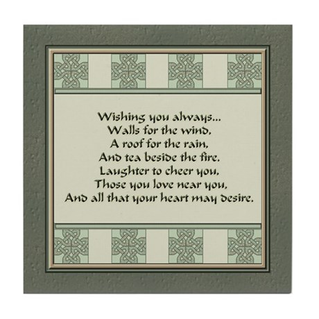 Irish Blessing Tile Coaster By Ivmoores