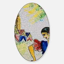 Typical Azulejo souvenir tile, Sant Sticker (Oval)