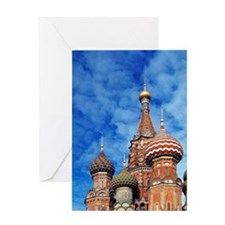 The ornate spires of St. Basil's Cat Greeting Card