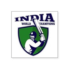 "cricket player batsman indi Square Sticker 3"" x 3"""