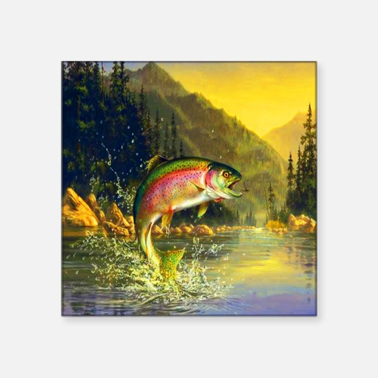 """Rainbow Trout Jumping Square Sticker 3"""" x 3"""""""