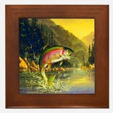 Rainbow Trout Jumping Framed Tile