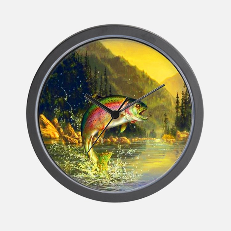 Rainbow Trout Jumping Wall Clock