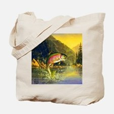 Rainbow Trout Jumping Tote Bag