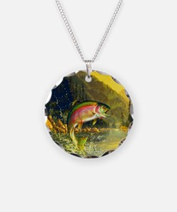 Rainbow Trout Jumping Necklace