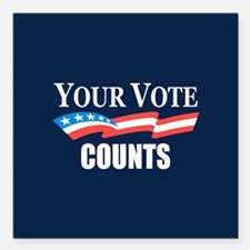 "Your Vote Counts Square Car Magnet 3"" x 3"""