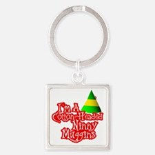 Cotton Headed Ninny Muggins BLK Square Keychain