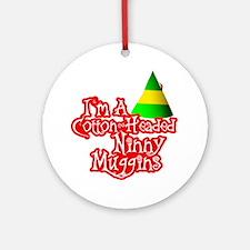 Cotton Headed Ninny Muggins BLK Round Ornament