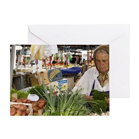Vegetable stand in the vegetable mar Greeting Card