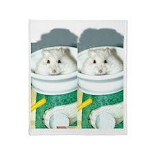 White-Albino Hamster Throw Blanket