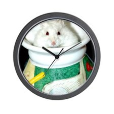 White-Albino Hamster Wall Clock