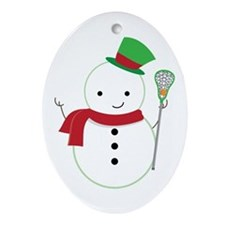 Lacrosse Christmas Snowman Ornament (Oval)