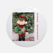 HAPPY HOLIDAYS ELF. Ornament (Round)