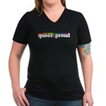 Queer&proud Women's V-Neck Dark T-Shirt