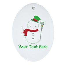 Personalized Lacrosse Snowman Ornament (Oval)