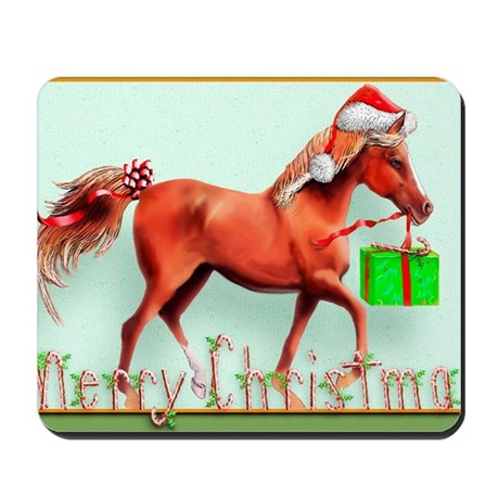 Red Horse Merry Christmas Mousepad